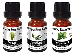 Europa Essentials 3-Pack TOP SCENTS Essential Oils 100% Pure Blend - Vetiver, Eucalyptus, Peppermint