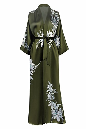 KIM+ONO Silk Kimono Robe Long - Floral Print, Yuri- - Green Art Silk Olive