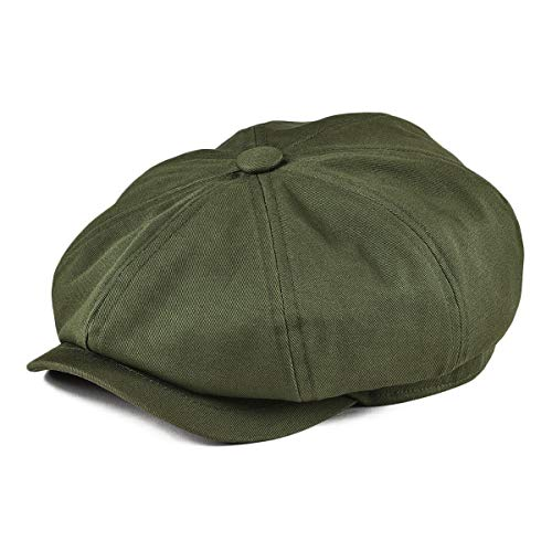 BOTVELA Men's 8 Piece Newsboy Flat Cap 100% Cotton Gatsby Ivy Golf Cabbie Hat (Green, -