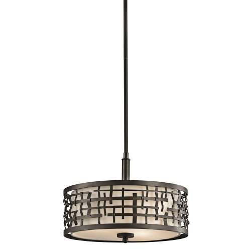 Ceiling Copper Mount Bronze (Kichler 43049OZ Loom 3-Light Convertible Fixture, Bronze Finish with Satin Etched Glass and Off-White Fabric Shade)