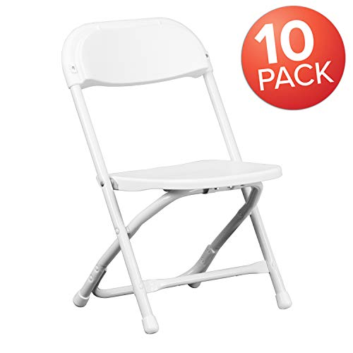 Flash Furniture 10 Pk. Kids White Plastic Folding ()