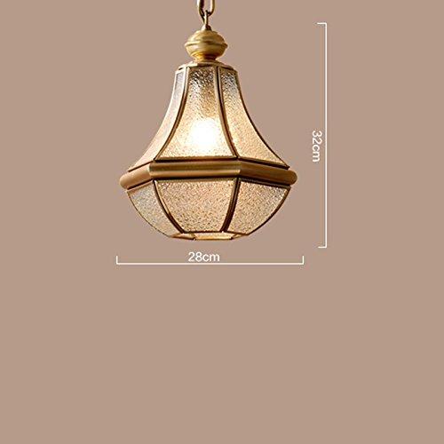LOFAMI European Style Retro Luxury Copper Chandelier Glass Lampshade E27 Pendant Lamp Living Room Corridor Cafe Study Decoration Ceiling Lamp, 28 32CM by LOFAMI (Image #2)