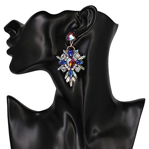 Starburst Tiffany (NusthamonHot Colorful Flower Big Marca de Design de Luxo Strass Pingente Starburst Cristal Gem Brincos Declaração de Jóias)