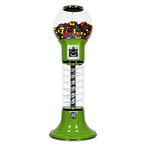 Original Wizard Spiral Gumball Vending Machine $0.25 for Gumballs or Bouncy Balls (Green)