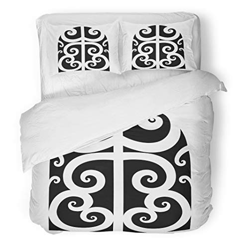 Tinmun 3pcs Duvet Cover Set Queen/Full Size Abstract Tattoo Maori Designs Tribal Sketch of Idea Arm Brushed Microfiber Fabric Bedding Set Cover