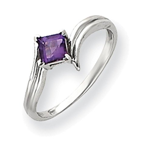 (Jewelry Adviser Rings 14k White Gold 4mm Princess Cut Amethyst ring)