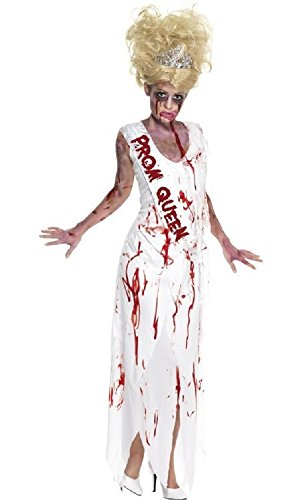 Ladies Zombie High School Girl Prom Queen Halloween Fancy Dress Costume Outfit UK 8-18 (UK 12-14) White -