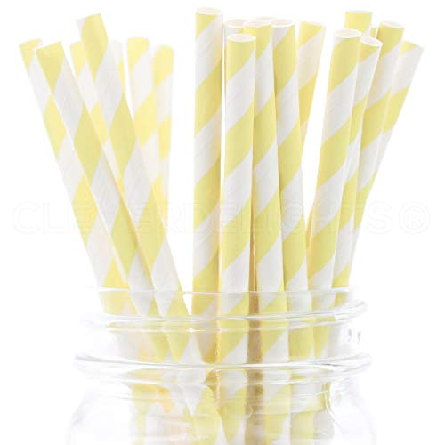 CleverDelights Biodegradable Paper Straws - Lemonade Stripe - Box of 100 - Light Yellow Straws