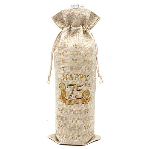 75th Birthday Gifts for Women and Men Wine Bags - Vintage 75 Year Old Presents, Best Anniversary Gift Ideas for Him Her Husband Wife Mom Dad - Cotton burlap drawstring Wine Bag