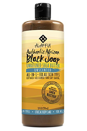 Alaffia - Authentic African Black Soap, All-in-One Body Wash, Shampoo, and Shaving Soap, All Skin and Hair Types, Fair Trade, No Parabens, Non-GMO, No SLS, Unscented, 32 Ounces (Type Scented Shampoo)