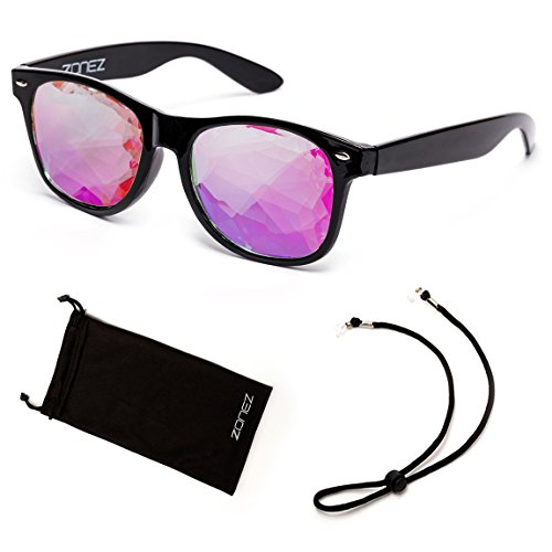 Zonez Kaleidoscope Glasses - Prism Effects, Rave Accessories, Light Shows