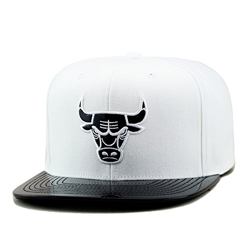 Mitchell & Ness Chicago Bulls NBA Snapback Hat Cap White/Black Foil (Patent Leather)