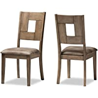 Baxton Studio 2 Piece Edwige Shabby Chic Country Cottage Weathered Gray/Brown Wood Dining Side Chair Set
