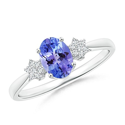 Tapered Oval Tanzanite Solitaire Ring with Diamond Clusters in Silver (7x5mm Tanzanite)