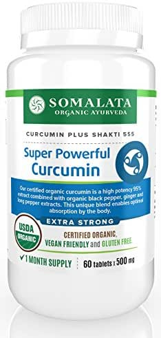 Super Powerful Curcumin - Organic 95 Curcuminoids with Black Pepper and Ginger - 500 mg