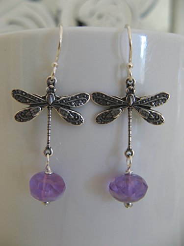 Vintage Style Dragonfly Lavender Czech Glass Earrings on Sterling Silver Earring Wires Boho - Czech Glass Earrings