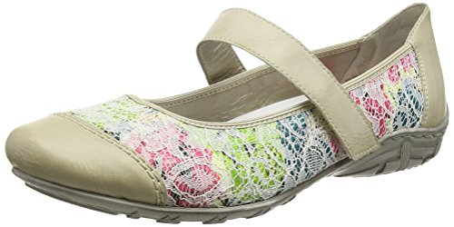 Rieker L2072 Women Closed Toe, Women's Closed Ballerinas White - Weiß (Offwhite/Grün-multi / 81)