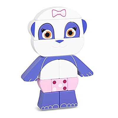 Word Party Lulu Stack and Play Block Puzzle - 13 Wood Stacking Block Pieces - Lulu The Panda - from The Netflix Original Series - 8