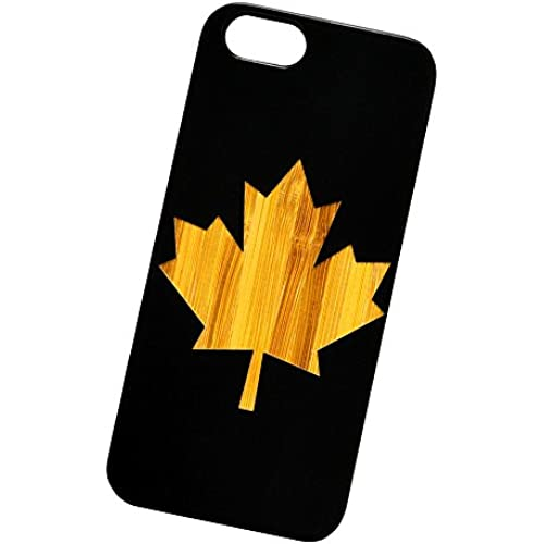 Canada Leaf Engraved Black Bamboo Cover for iPhone and Samsung phones Wood - Samsung Galaxy s7 Edge Sales