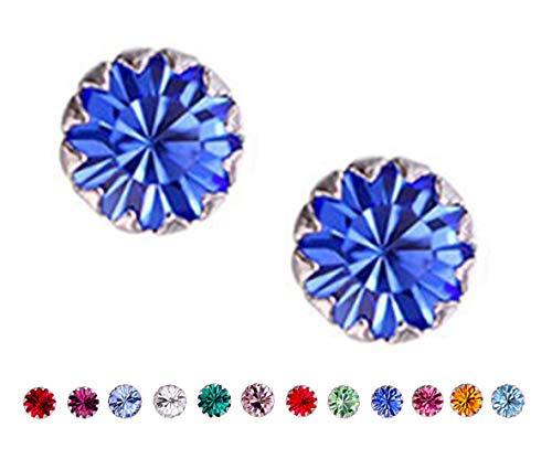 - Amaer 925 Sterling Silver 4mm/6mm Birthstone Studs Earrings for Women Teen Girls Tiny Crystals Earrings (September, 6)