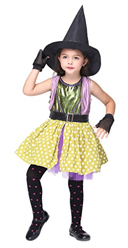 [Woo2u Kids Girls Witch Costume Halloween Cosplay Party Prinecess Dress Yellow XL] (Middle Eastern Girl Costume)