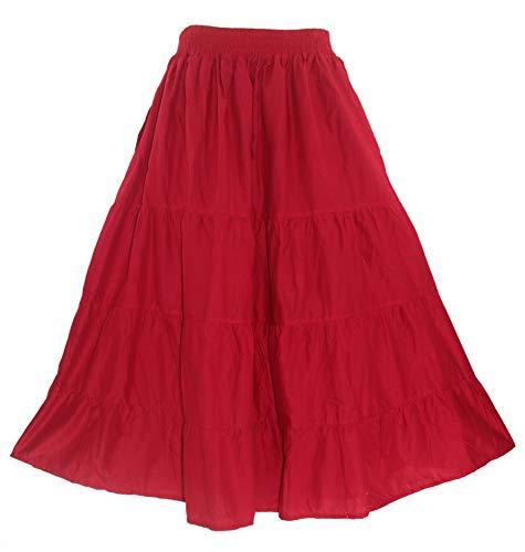 Batik Cotton Skirt - Beautybatik Red Cotton Boho Gypsy Long Maxi Tier Flare Skirt 2X