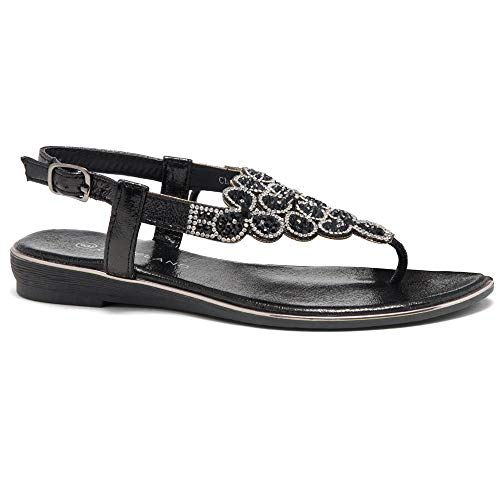 Herstyle Women's Charlee Rhinestone Bohemian Slip On Flip Flops Shoes Strap Gladiator Toe Loop Flat Sandals Black 9.0