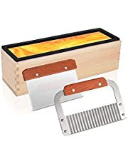 Silicone Soap Mold, 42oz Flexible Rectangular Loaf Mold Kit with Wood Box, Stainless Steel Wavy Straight Scraper for Homemade Craft Soap Making