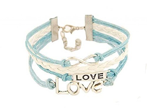 JSDY Womens Girls Love Word Note Infinity Weave Pu Leather Blue Bracelets Unique