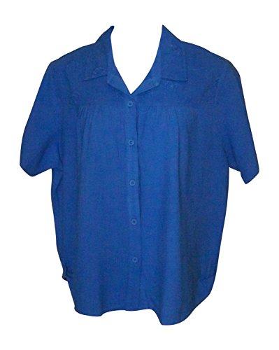 Camp Gauze Shirt - Produce Company Women's Embroidered Gauze Camp Shirt (3X, Blue)
