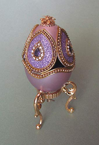 - Enameled Hand Painted Faberge Egg Style Decorative Hinged Jewelry Trinket Box Unique Gift Home Decor, Authentic Goose Egg, Music Box,Kingspoint Design #30629,Purple Dream