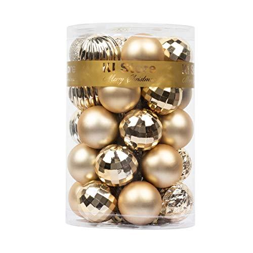 KI Store – Bolas de Navidad (34 Unidades), diseño de árbol de Navidad, Color champán