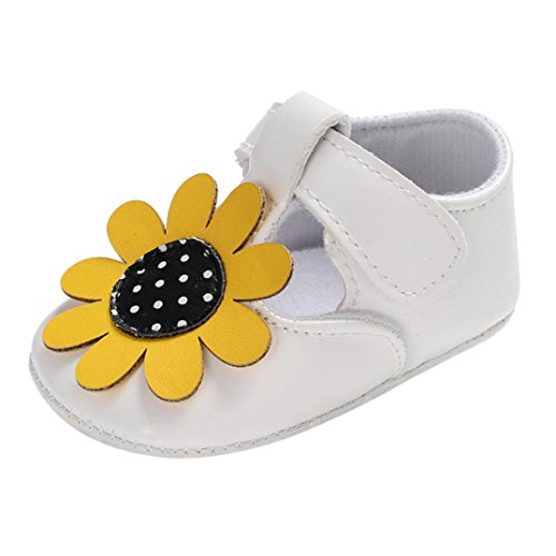Amiley Baby First Crib Shoes,Baby Girl Sunflower Flower Leopard Soft Sole Anti-Slip Shoes Newborn Single Crib Sneakers Shoes for Infant Toddler Baby Girls (White, US2.5(11CM/4.3