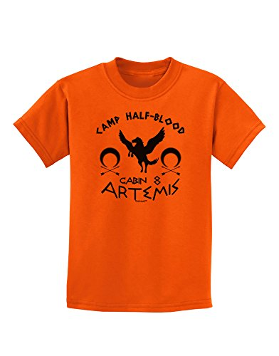 TooLoud Camp Half Blood Cabin 8 Artemis Childrens T-Shirt - Orange - Large