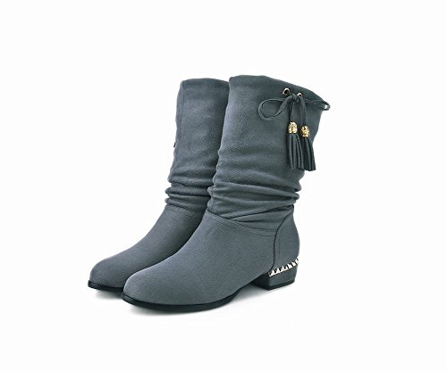 Mee On Shoes Boots Grey Slip Tassel Casual Women's Heel Block pWpqdrFR