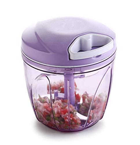 Kitch-Max® 2 in 1 Handy Chopper, XL, Vegetable Fruit Nut Onion Chopper, Hand Meat Grinder Mixer Food Processor Slicer Shredder Salad Maker Vegetable Tools (900ml) (Purple) Price & Reviews