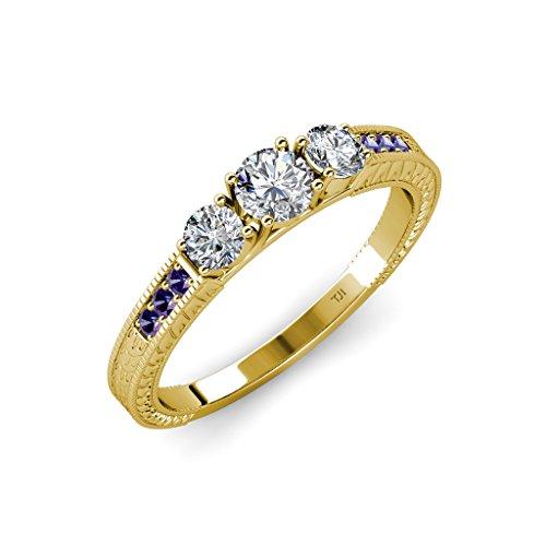 TriJewels Diamond Milgrain Work 3 Stone Ring with Iolite on Side Bar 0.85 ctw 14K Yellow Gold.size 9.0