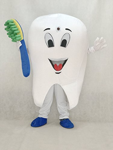 (Adorable Realistic New Tooth Mascot Adult Costume Tooth Dental Care Birthday Party Fancy Dress)