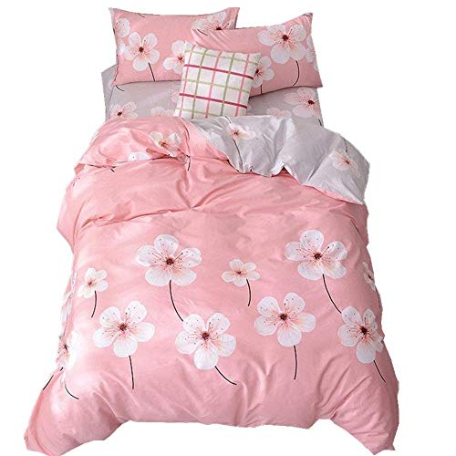 EnjoyBridal Full Size Girls Bedding Sets Pink Flowers Cotton Kids Duvet Cover Queen 3 Pieces Teens Comforter Cover Queen with Hidden Zipper for Women, No Comforter ()