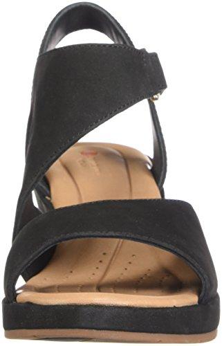 Clarks Unstructured Par Des Femmes Sandale De Cale Un Harnais De Place En Nubuck Noir