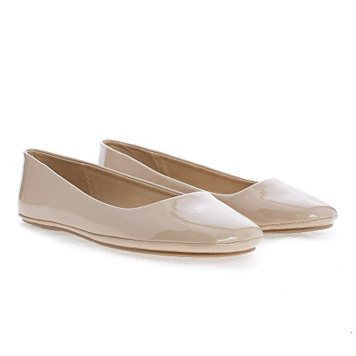 Shoes Round 5 ballerina Afar Sully's Beige 5 Soda Patent women flats ballet casual toe OWaOfwqvp