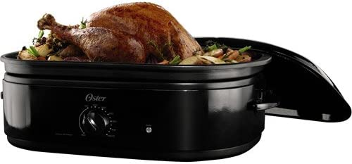 Oster Large 24 Pound Turkey Oven Roaster Black w// Extra Deep Dome Lid