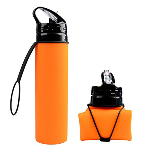 Collapsible Silicone Water Bottle FDA-approved BPA Free Leak-Proof Lightweight Foldable Roll Up for Outdoors, Hiking, Camping, Biking,Sports and Traveling,20.5 Ounces 600ml Orange