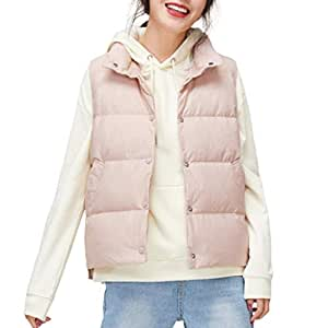 Womens Down Vest Warm Sleeveless Snap Lightweight Casual Jackets Outerwear, Stand Collar Gilet with Pockets, Three Colors Optional. (Color : White)