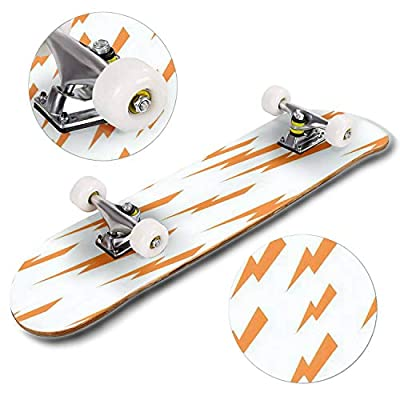 Classic Concave Skateboard Pattern of Thunder Golden Isolated icon Vector Illustration Design Longboard Maple Deck Extreme Sports and Outdoors Double Kick Trick for Beginners and Professionals : Sports & Outdoors