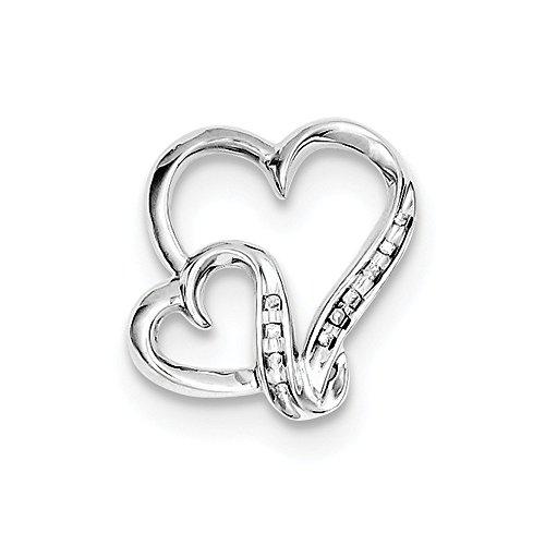 Sterling Silver Diamond Double Heart Pendant (16mm x 16mm)