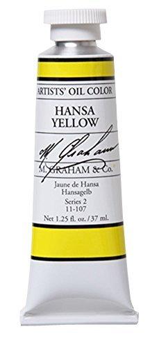 M.Graham Artists' Oil Tubo de Pintura de Aceite, 37 ML, carmesí Alizarina, Amarillo, (Hansa Yellow), 1