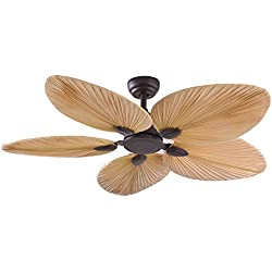 Andersonlight Palm 52-Inch Tropical Ceiling Fan, Five Palm Leaf Blades, Damp Rated, Bronze