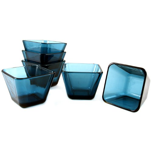 Anchor Hocking Rio 3.5 Inch Coastal Blue Glass Dessert Bowl, Set of 6 by Anchor Hocking