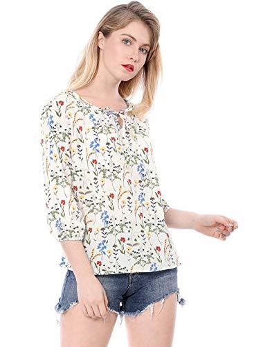 Vetement Jeune Printemps Mode Fleur Shirt Col Dame Tops Haut Automne Dsinvolte Motif Rond Blouse Elgante Manches Longues Blanc Chemise Basic Femme 1wzxqTFXH